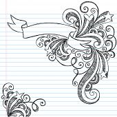 Hand-Drawn Scroll Banner Sketchy Notebook Doodles with Stars and Swirls- Vector Illustration on Line