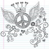 Hand-Drawn Sketchy Peace Sign Doodle with Angel Wings and Princess Crown on Lined Notebook Paper Background- Vector Illustration