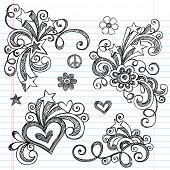 Hand-Drawn Abstract Hearts, Swirls, Flowers, and Stars Sketchy Notebook Doodles Vector Illustration