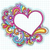 Hand-Drawn Psychedelic Groovy Heart Notebook Doodles on Graph (Grid) Sketchbook Paper Background- Ve
