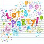 Hand-Drawn Sketchy Let's Party Birthday Celebration Sketchy Notebook Doodles on Lined Sketchbook Pap