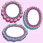 Mão-extraídas psicodélico Groovy Notebook Doodle conjunto de elementos de quadros - Design 3D flor Pink forrado
