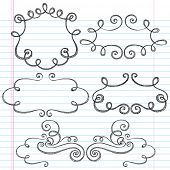 Hand-Drawn Sketchy Notebook Doodles Ornamental Borders with Swirls- Vector Illustration Design Eleme