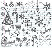 Hand-Drawn Christmas Sketchy Notebook Doodles- Vector Illustration Design Elements on Lined Sketchbo