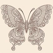 Hand-Drawn Butterfly Henna Mehndi Paisley Doodle Outline Vector Illustration Design Element
