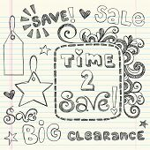 Hand-Drawn Sketchy Notebook Doodles Time to Save Sale & Shopping Coupon & Tags Vector Illustration D