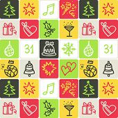 christmas check pattern - illustrations - icons set -