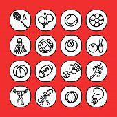 black and white icon set - sports 1 -