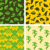 Постер, плакат: Рептилии бесшовные модели