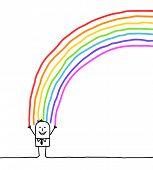 mano personaje dibujado - empresario y arco iris de colores