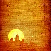 village rooftops silhouettes on moon and stars sky background
