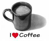 Coffee Mug in Pencil: I Love Coffee