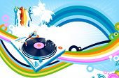 abstract design with rainbows, silhouettes dancing and turntable