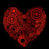 heart shape consist of gears