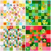 set of patterns with cute flowers and animals
