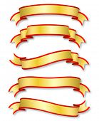 set of five curled golden ribbons, illustration