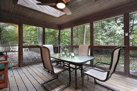 picture of screen-porch  - Wooden porch with skylights and outside deck - JPG