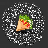 Tortilla Wrap Vector Cartoon Illustration. Mexican Burritos With French Fries And Vegetables Icon. M poster