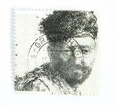 Rembrandt Etch On Postage Stamp
