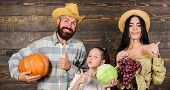 Family Rustic Style Farmers Market With Fall Harvest. Harvest Festival Concept. Parents And Daughter poster