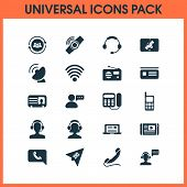 Communication Icons Set With Tablet Connection, Greeting Male Operator, Satellite Connection And Oth poster