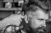 Barber Works With Hair Clipper. Barbershop Concept. Hands Of Barber With Hair Clipper, Close Up. Hip poster