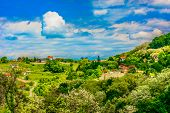 Scenic View At Amazing Picturesque Landscape In Zagorje, Popular Tourist Resort In Continental Croat poster