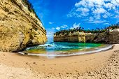 Beautiful beach  in ocean fjord of Pacific ocean. The Great Ocean Road of Australia. The concept of  poster