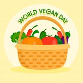 Happy Vegetarian Day Concept Background. Flat Illustration Of Happy Vegetarian Day Concept Backgroun poster