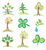 stock photo of people icon  - Set of icons  trees and plants - JPG
