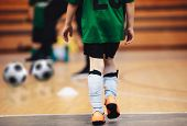 Kids Futsal Training. Indoor Soccer Players Training With Balls. Sport Background. Indoor Soccer Spo poster