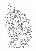Abstract Line Draw The Nativity Of Jesus With Scenery Mary And Joseph In A Manger With Baby Jesus Ve poster