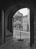 Medieval Doorway (b/w) poster