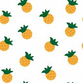 Seamless Colorful Painted Ananas Pattern. Summer Background. Vector Illustration poster