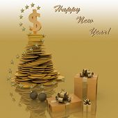 christmas tree from chinks. a wish of successful business is in New Year