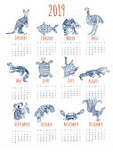 Calendar For 2019 With Australian Animals. Stylized Tribal Animal Calendar With White Background. poster