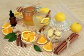 Ingredients for cold and flu remedy with ginger and cinnamon spice, eucalyptus aromatherapy oil, ora poster