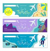 Travel Banner For Web Site. Set Of Vector Template Design. Tourism. Summer Tours, Extreme Tours, Win poster