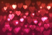 Abstract, Background, Background, Spot, Blurred, Bokeh Background ,with Red Hearts, Bokeh, Bright, H poster