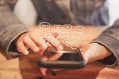 Women Hand Using Smartphone Typing, Chatting Conversation In Chat Box Icons Pop Up. Social Media Mak poster