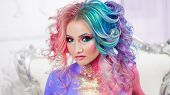 Beautiful Woman With Bright Hair. Bright Hair Color, Hairstyle With The Curls. poster