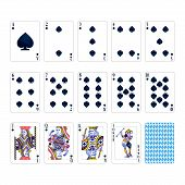 Full Set Of Spades Suit Playing Cards With Joker Isolated On White poster
