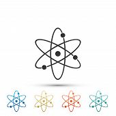 Atom Icon Isolated On White Background. Symbol Of Science, Education, Nuclear Physics, Scientific Re poster