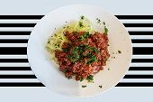 Healthy Low Carb Food On White Plate, Lunch With Snake Cucumber In Spaghetti Strips Cut Above Beef T poster