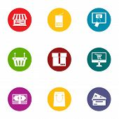 Private Shop Icons Set. Flat Set Of 9 Private Shop Icons For Web Isolated On White Background poster