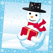 ector illustration of a smiling snowman