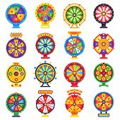 Wheel Of Fortune. Turning Lucky Spin Game Wheels, Spinning Money Roulette Isolated Flat Vector Set poster