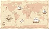 Antique World Map. Vintage Compass And Retro Ship On Ancient Marine Map. Old Countries Boundaries Ve poster