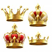 Realistic Gold Crown. Crowning Headdress For King And Queen. Royal Crowns Vector Set poster