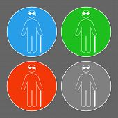 Blind Person Icon. Outline. Isolated On White Background. Vector. poster